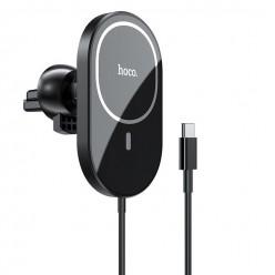 hoco. CA90 wireless magnetic charging car holder black