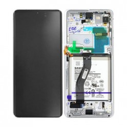 Samsung Galaxy S21 Ultra 5G (SM-G998B) LCD displej + dotyková plocha + rám strieborná - originál