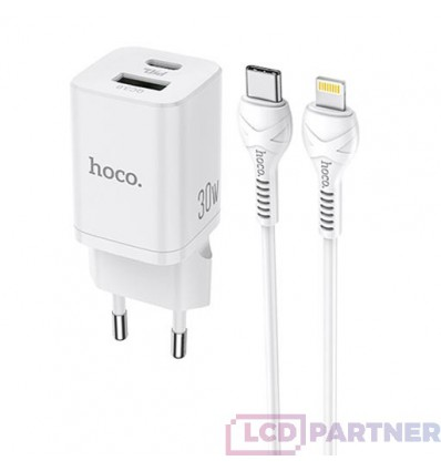 hoco. N13 dual USB charger set with type-c to lightning 30W white