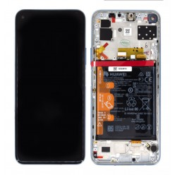 Huawei P40 Lite 5G LCD displej + dotyková plocha + rám stříbrná - originál