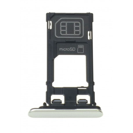 Sony Xperia XZ F8331 - Držiak sim a microSD strieborná - originál